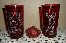 DEPRESSION RUBY RED HAND PAINTED GLASS NAUTICAL NAVY SAILOR GIRL BOY TUMBLERS