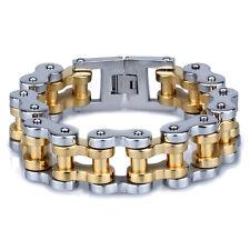 Huge Motorcycle Chain Stainless Steel Biker Gold Silver Bracelet 22mm 9'' Heavy