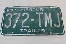 Vintage 1983 Missouri Trailer Single License Plate 372-TMJ