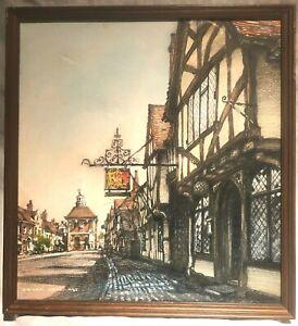 Pastel original by Cedric Dawe: THE KING'S ARMS - OLD AMERSHAM - 1982
