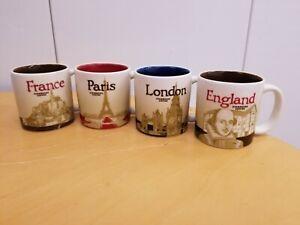Starbucks Paris France Mini Mugs Espresso 3oz England London Lot of 4