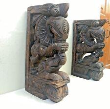 Wall Wooden Bracket Corbel Pair Temple Yalli Dragon Statue Sculpture Art Decor