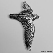 Hawk im Flug Zinn Brosche Pin-Britisch Artisan Signed Falconry Jagd Vogel