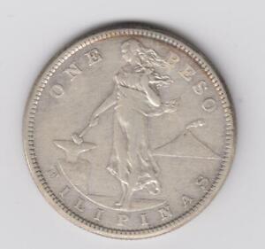 PHILIPPINES USA 1 PESO 1907-S  80% SILVER COIN . San Francisco
