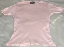 RALPH LAUREN POLO JEANS CO Women's Small Pink SS Ribbed Cotton Tee Shirt EUC