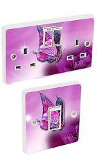 Purple butterfly Light Switch & Double Socket Sticker Vinyl / Skin cover sosw35