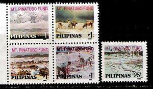 Philippines  VOLCANO 1992 Mount Pinatubo Eruption Surtax Fund 5v cpt. Mint NH