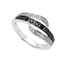 Argent Sterling Noir et Blanc Diamant 3 Rangée Bague Éternité Taille