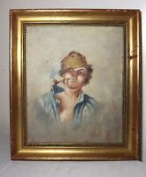 original 19th century Vincenzo Ciappa oil painting fisherman boy portrait signed