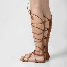 Women Gladiator Sexy Sandals Knee High Cutout Fashion Casual Summer Flat Sandal