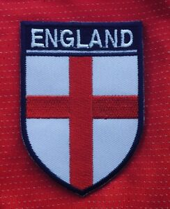 ENGLAND FLAG ST GEORGE CROSS  FOOTBALL CREST BADGE SEW ON PATCH