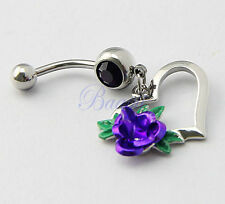 Heart Dangle with Purple Rose Leaves Belly Button Ring Navelk Bar 14G JW730