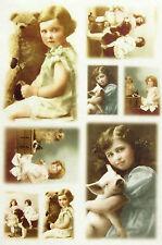 CIALDE di riso per decoupage, scrapbooking foglio vecchia foto ragazze e animali 3