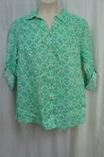 Charter Club Woman Top Sz 3X Lake Green Combo Linen Button Front Casual Top