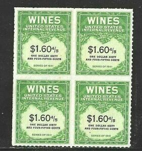 Wines & Cordials Tax Block of 4 Scott RE196 Type (I)  MNGAI F-VF