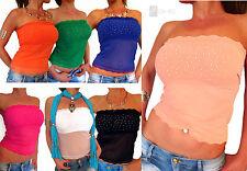 Ärmellose Taillenlang Damenblusen,-Tops & -Shirts mit Bandeau für Party