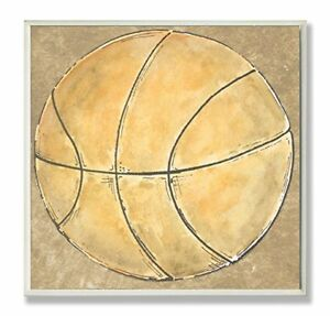 The Kids Room by Stupell Basketball on Brown Background Square Wall Plaque
