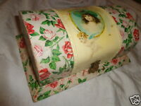 ANTIQUE VICTORIAN GIRL PORTRAIT CHERUB PINK ROSES FLORAL CELLULOID DRESSER BOX