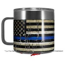 Skin Wrap for Yeti Coffee Mug Painted Cracked Blue Line Stripe USA American Flag