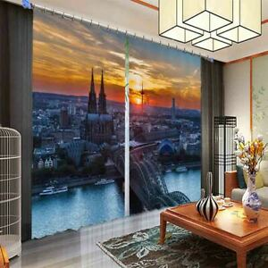 Beautiful Evening In City 3D Blockout Photo Print Curtain Fabric Curtains Window
