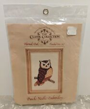 American Handicrafts Punch Needle Embroidery Horned Owl 5x7 New In Package 1979