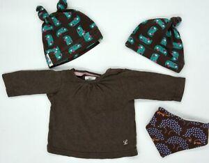 Baby Set Dawanda Handmade Mützen und Latz und H&M Shirt Größe 62