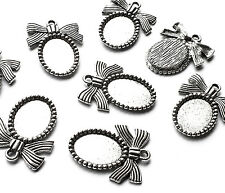 8 x Silver Oval Cabochon Cameo Setting Mini Picture Frame Charm with Ribbon Bow