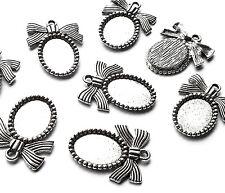 8 X ovale d'argento Cabochon Cammeo impostazione MINI CORNICE Ciondolo con Nastro Fiocco