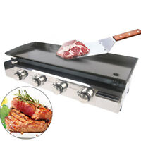 Gas Plancha BBQ - 4 Burner BBQ Grill - Stainless Steel & Enameled Cast Plate