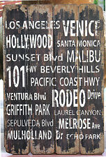"""Rustic   """"Los Angeles ...""""   Wood  Paling  WALL PLAQUE      BRAND   NEW"""