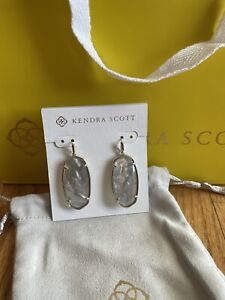 Kendra Scott Faceted Elle Earrings, Gold/Gray Illusion