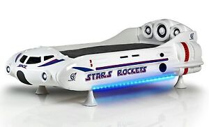 Autobett Raumschiff Star Rocket weiss 90 x190 Kinderbett Spielbett Kinderzimmer