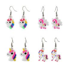 4 Pair Mix Cartoon Rubber Children Unicorn Dangle Hook Earrings Gift Jewelry