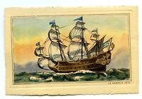 1930s Set 8 Miniature Etchings Pirate Ships Surcouf Le Corsaire Le Morgan