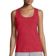 Joan Vass Crimson Red 100% Cotton Classic Basic Rib Scoop Neck Tank Top - 3 - XL