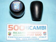 FIAT 500 F/L/R 126 POMELLO LEVA CAMBIO IN PELLE NERO + LOGO FRANCIS LOMBARDI