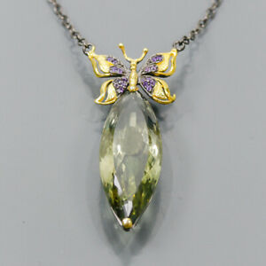 """38ct+ Handmade Green Amethyst Necklace 925 Sterling Silver  Length 19""""/N06378"""