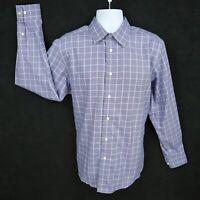 Egara Dress Shirt Mens Size L Blue White Checks 100% Cotton Non-Iron Long Sleeve