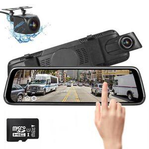 "10"" HD Dual Lens Car DVR Dash Cam Front and Rear Mirror Camera Video Recorder"