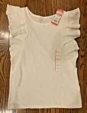 Cat & Jack Girl's White Flutter Sleeve Top-Large-Size 10/12-NWT