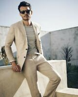 Beige Men Linen Suit Prom Party Summer Beach Casual Groom Tuxedos Suit Custom
