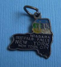 map Ny silver tone charm Vintage enamel New York state