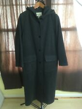 EDDIE BAUER hooded LONG Button Trench Coat WOOL Blend Grey Nylon Lining Small