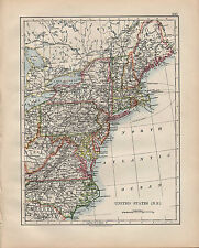 1900 VICTORIAN MAP ~ UNITED STATES NORTH EAST ~ VIRGINIA PENNSYLVANIA NEW YORK