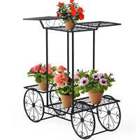 6-Tier Garden Cart Stand Flower Rack Display Home Flower Pot Plant Holder