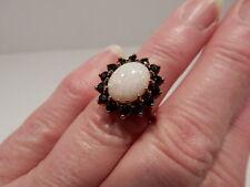 10K Yellow Gold Opal & Dark Sapphire Ring