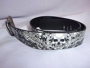 Skull Print Faux Leather Black Belt Biker Grunge Punk Rock Heavy Metal Goth Sz L