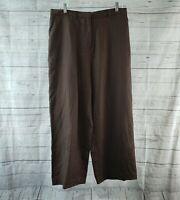 Apostrophe Womens Pants Sz 12 Brown Linen High Rise