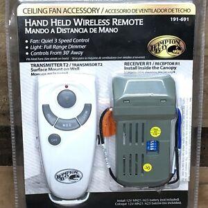 NEW Hampton Bay Hand Held Wireless Remote 191-691 Transmitter T2 & Receiver R1