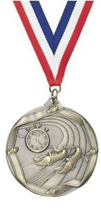 """TRACK GOLD MEDAL AWARD 2.25""""  RED WHITE BLUE RIBBON FREE ENGRAVING FAST SHIPPING"""